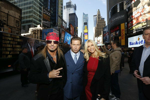 Contestants Bret Michaels, actor Stephen Baldwin and Playboy Playmate Brande Roderick appear at an event announcing the cast of 'All Star Celebrity Apprentice' in New York City on Oct. 12, 2012.