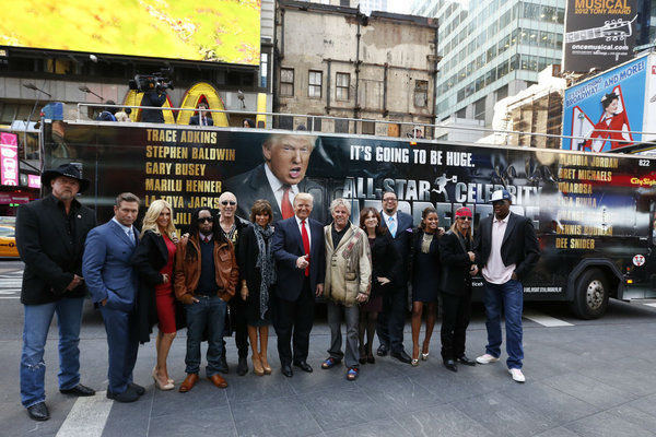 The cast of &#39;All Star Celebrity Apprentice&#39; - Trace Adkins, Stephen Baldwin, Brande Roderick, Lil Jon, Dee Snider, Lisa Rinna, Donald Trump &#40;host&#41; Gary Busey, Marilu Henner, Penn Jillette, Claudia Jordan, Bret Michaels and Dennis Rodman appear at an event announcing the new season in New York City on Oct. 12, 2012. <span class=meta>(NBC Photo &#47; Heidi Gutman)</span>