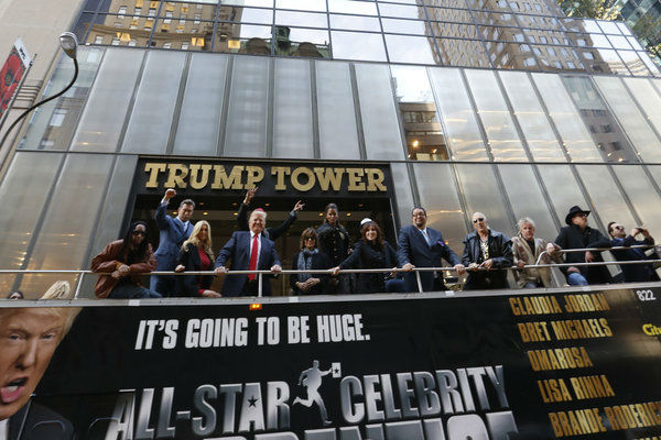 The cast of NBC's 'All Star Celebrity Apprentice' - Lil Jon, Stephen Baldwin, Brande Roderick, Donald Trump (host), Lisa Rinna, Claudia Jordan, Marilu Henner, Penn Jillette, Dee Snider, Gary Busey and Trace Adkins appear at an event announcing the cast of