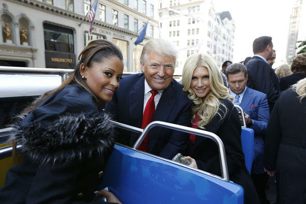 Donald Trump &#40;middle&#41; appears with Claudia Jordan, a &#39;Deal or No Deal&#39; model, and Playboy Playmate Brande Roderick at an event announcing the cast of &#39;All Star Celebrity Apprentice&#39; in New York City on Oct. 12, 2012.  Jordan placed 13th in season 8 and Roderick came in 4th place in season 8 in 2009. <span class=meta>(NBC Photo &#47; Heidi Gutman)</span>