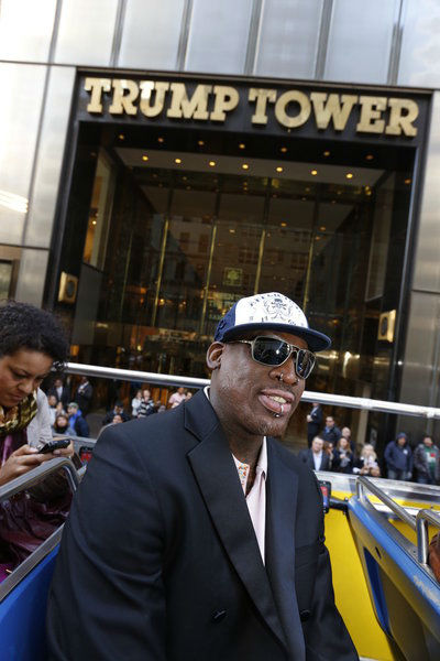 Dennis Rodman appears at an event announcing the...