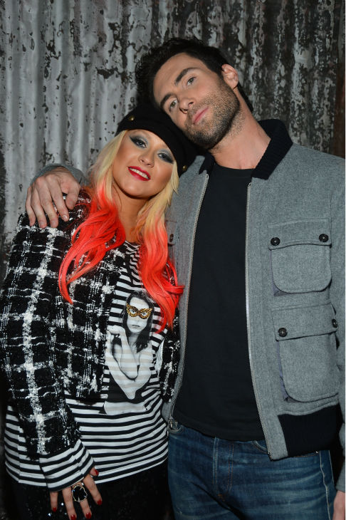'The Voice' coaches Christina Aguilera and Adam Levine appear at the House of Blues in Los Angeles on Nov. 8, 2012 for the NBC show's special concert to celebrate the announcement of the top 12.