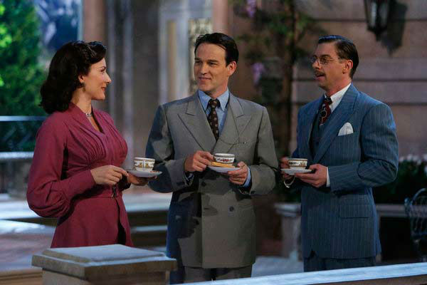 Laura Benanti as Elsa Schraeder, Stephen Moyer as Captain Von Trapp and Christian Borle as Max Detweiler appear in a p