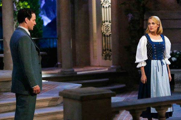 "<div class=""meta ""><span class=""caption-text "">Stephen Moyer as Captain Von Trapp and Carrie Underwood as Maria appear in a photo from 'The Sound of Music Live!' rehearsal. The show airs on Dec. 5, 2013. (Will Hart/NBC)</span></div>"