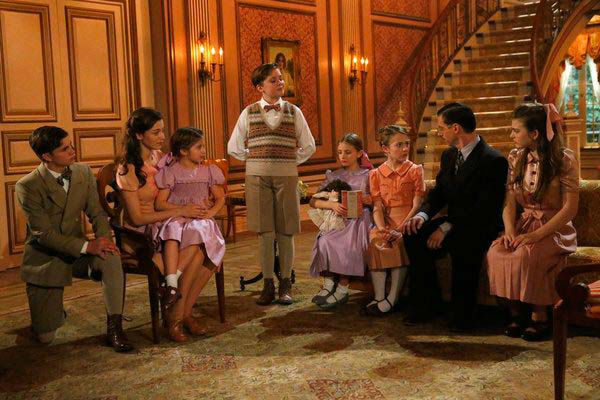 Left-Right: Michael Nigro as Friedrich, Ariane Rinehart as Liesl, Peyton Ella as Gretl, Joe West as Kurt, Grace Grundhaug as Marta, Sophia Ann Caruso as Brigitta, Christian Borle as Max Detweiler and Ella Watts-Gorman as Louisa appear in a photo from &#39;The Sound of Music Live!&#39; rehearsal. The show airs on Dec. 5, 2013. <span class=meta>(Will Hart&#47;NBC)</span>
