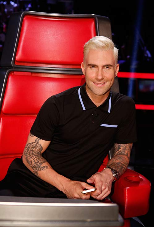 "<div class=""meta ""><span class=""caption-text "">The 'I'm platinum blond AND WHAT?' stare: Adam Levine appears on the May 5, 2014 episode of 'The Voice'. (Trae Patton / NBC)</span></div>"