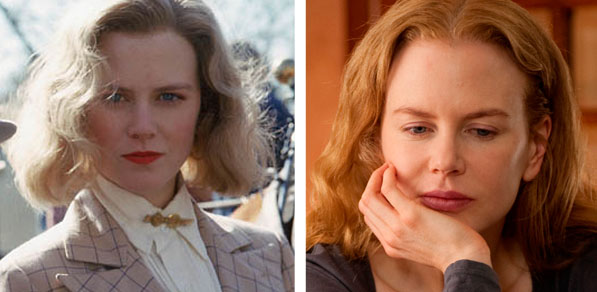 Pictured: To the left, Nicole Kidman appears in a scene from 'Billy Bathgate' in 1991.  At right, Nicole Kidman appears in a scene from 'Rabbit Hole' in 2010.