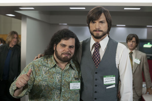 Ashton Kutcher appears as Steve Jobs in this scene from the 2013 film 'Jobs.' Jobs, the founder of Apple, died in October 2011. Also pictured: Josh Gad.