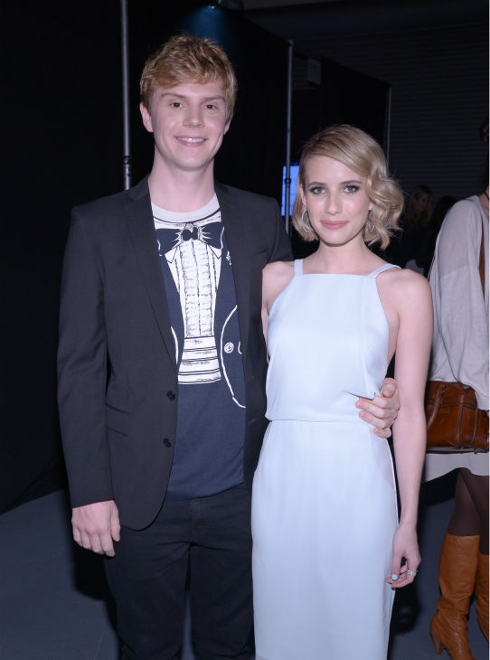 Emma Roberts and co-star and real-life fiance Evan Peters appear at a PaleyFest event celebrating the FX series &#39;American Horror Story: Coven,&#39; presented by the Paley Center for Media, at the Dolby Theatre in Hollywood, California on March 28, 2014. She is wearing a chiffon Finders Keepers dress.  <span class=meta>(Rob Latour for Paley Center for Media)</span>