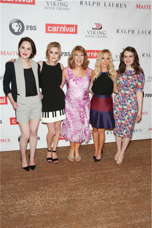 "<div class=""meta image-caption""><div class=""origin-logo origin-image ""><span></span></div><span class=""caption-text"">'Downton Abbey' actresses Michelle Dockery, Laura Carmichael, Phyllis Logan, Joanne Froggatt and Sophie McShera attend the 'Downton Abbey' photo call at The Beverly Hilton Hotel on Aug. 6, 2013 in Beverly Hills, California. (Chris Hatcher / startraksphoto.com)</span></div>"
