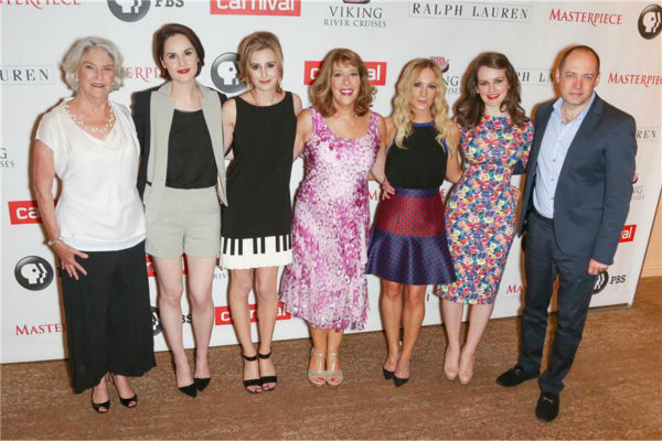 "<div class=""meta ""><span class=""caption-text "">'Downton Abbey' Executive Producer Rebecca Eaton, actresses Michelle Dockery, Laura Carmichael, Phyllis Logan, Joanne Froggatt and Sophie McShera and Executive Producer Gareth Neame attend the 'Downton Abbey' photo call at The Beverly Hilton Hotel on Aug. 6, 2013 in Beverly Hills, California. (Chris Hatcher / startraksphoto.com)</span></div>"