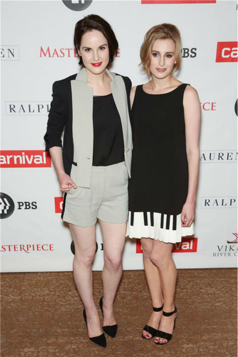 "<div class=""meta ""><span class=""caption-text "">'Downton Abbey' actresses Michelle Dockery and Laura Carmichael attend the 'Downton Abbey' photo call at The Beverly Hilton Hotel on Aug. 6, 2013 in Beverly Hills, California. (Chris Hatcher / startraksphoto.com)</span></div>"