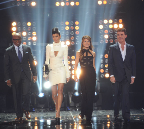 "<div class=""meta ""><span class=""caption-text "">L-R: Judges L.A. Reid, Nicole Scherzinger, Paula Abdul and Simon Cowell appears on stage on 'The X Factor' pre-finale on Dec. 21, 2011 on FOX.  (Ray Mickshaw / FOX)</span></div>"
