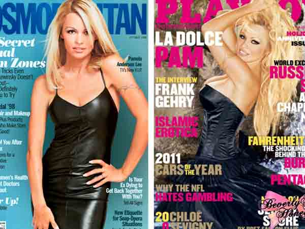 Pamela Anderson has undergone multiple breast augmentations. Pictured:  To the left, Pamela Anderson appears on the cover of Cosmopolitan magazine in 1994.  At right, she appears on the cover of Playboy magazine in 2011. <span class=meta>(Cosmopolitan &#47; Playboy)</span>