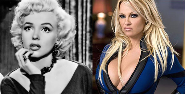 Marilyn Monroe (left) appears in a scene from 'Gentlemen Prefer Blondes.'  Pamela Anderson (right) appears in a scene from 'Superhero Movie.'