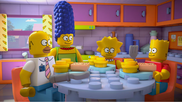 Homer Simpson and wife Marge and kids Lisa and Bart are depicted in LEGO form in episode No. 550 of the FOX animated series &#39;The Simpsons,&#39; &#39;Brick Like Me,&#39; which aired on May 4, 2014. On the show, Homer wakes up in a world where his family, friends and other residents of Springfield are made of LEGOs. <span class=meta>(FOX)</span>