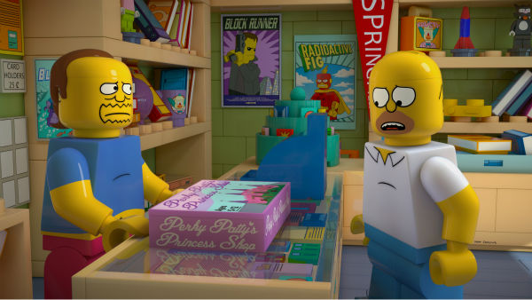 Homer Simpson and Comic Book Guy, aka Jeff Albertson, are depicted in LEGO form in episode No. 550 of the FOX animated series &#39;The Simpsons,&#39; &#39;Brick Like Me,&#39; which aired on May 4, 2014. On the show, Homer wakes up in a world where his family, friends and other residents of Springfield are made of LEGOs. <span class=meta>(FOX)</span>