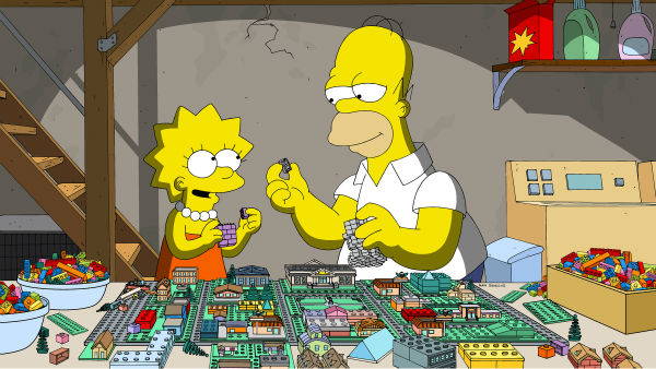 Homer Simpson and daughter Lisa appear with LEGOs in episode No. 550 of the FOX animated series &#39;The Simpsons,&#39; &#39;Brick Like Me,&#39; which aired on May 4, 2014. On the show, Homer wakes up in a world where his family, friends and other residents of Springfield are made of LEGOs. <span class=meta>(FOX)</span>