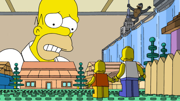 Homer Simpson appear with LEGOs in episode No. 550 of the FOX animated series &#39;The Simpsons,&#39; &#39;Brick Like Me,&#39; which aired on May 4, 2014. On the show, Homer wakes up in a world where his family, friends and other residents of Springfield are made of LEGOs. <span class=meta>(FOX)</span>