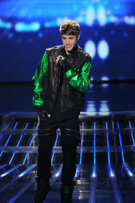 Justin Bieber performs on 'The X Factor' finale on Dec. 22, 2011.