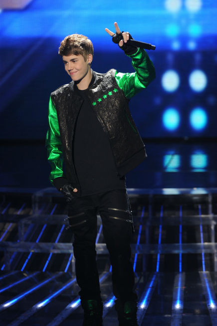 Justin Bieber performs on 'The X Factor' finale...