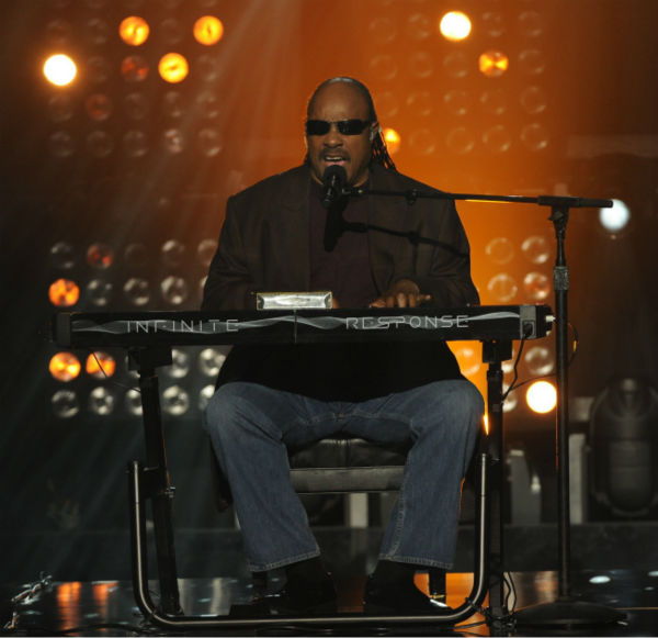 Stevie Wonder performs on 'The X Factor' finale...