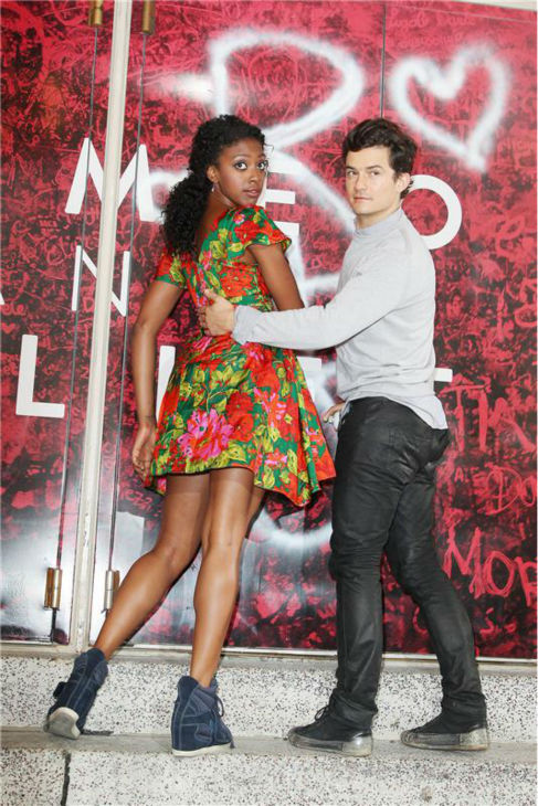 Orlando Bloom and Condola Rashad, stars of the upcoming Broadway production of 'Romeo and Juliet,' is seen on Aug. 7, 2013 arriving at the show's new home, the Richard Rodgers Theatre, for the first time.