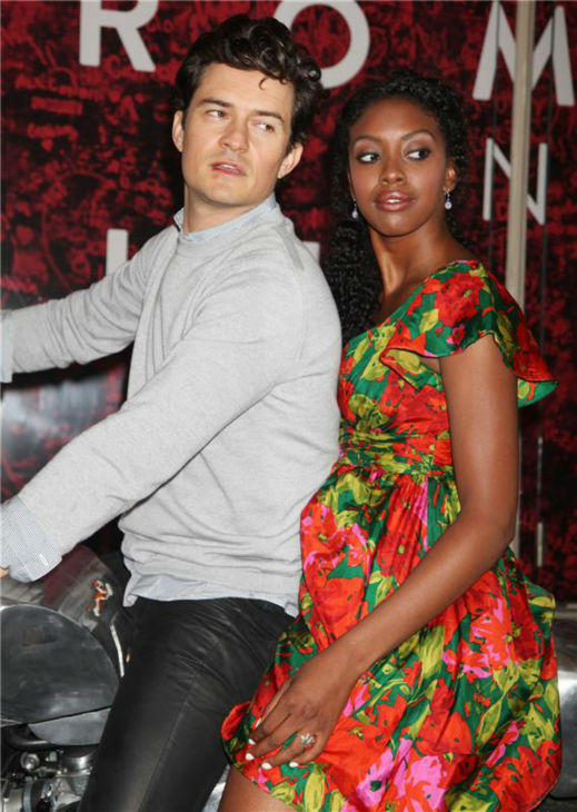 Orlando Bloom and Condola Rashad, stars of the upcoming Broadway production of &#39;Romeo and Juliet,&#39; ride a motorcycle in New York on Aug. 7, 2013. They had just arrived at the show&#39;s new home, the Richard Rodgers Theatre, for the first time. <span class=meta>(Adam Nemser &#47; Startraksphoto.com)</span>