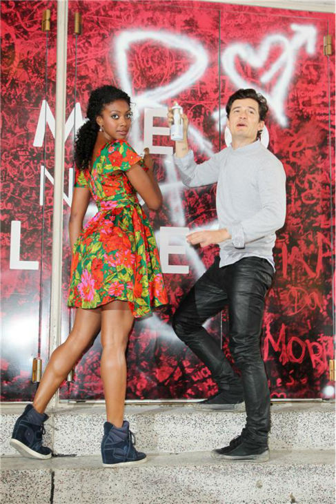 Orlando Bloom and Condola Rashad, stars of the upcoming Broadway production of 'Romeo and Juliet,' are seen in New York on Aug. 7, 2013, arriving at the show's new home, the Richard Rodgers Theatre, for the first time.
