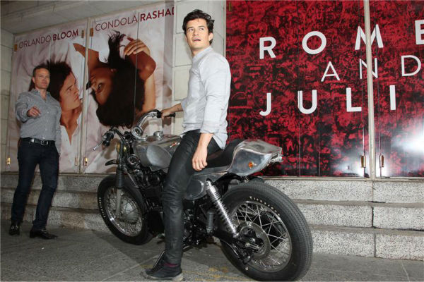 "<div class=""meta ""><span class=""caption-text "">Orlando Bloom, star of the upcoming Broadway production of 'Romeo and Juliet,' rides a motorcycle in New York on Aug. 7, 2013, arriving at the show's new home, the Richard Rodgers Theatre, for the first time. (Amanda Schwab / Startraksphoto.com)</span></div>"