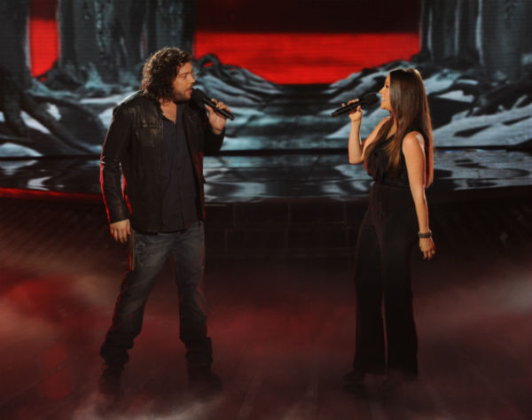 Josh Krajcik (L) and Alanis Morissette perform her 1998 song 'Uninvited' on 'The X Factor' on Dec. 21, 2011 on FOX.
