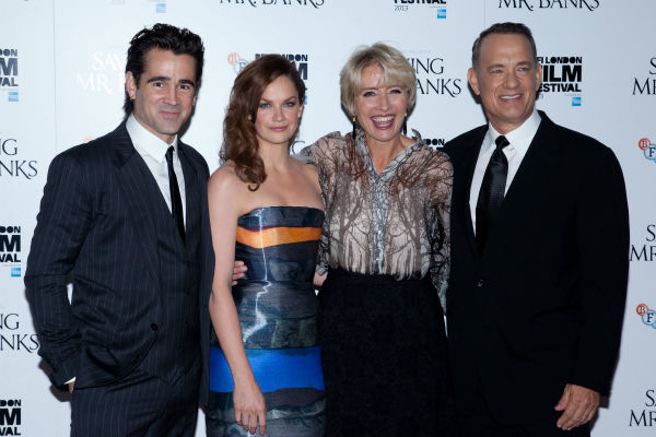 "<div class=""meta ""><span class=""caption-text "">Colin Farrell, Ruth Wilson, Emma Thompson and Tom Hanks attend the world premiere of Disney's 'Saving Mr. Banks' at the closing night of the 57th BFI London Film Festival at the Odeon Leicester Square theater in London on Oct. 20, 2013. (David Dettmann / Walt Disney Studios)</span></div>"