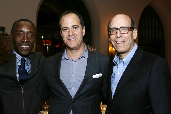 'House of Lies' star and Golden Globe nominee Don Cheadle, David Nevins (Showtime's President Of Entertainment) and Matthew C. Blank (Showtime's Chairman and Chief Executive Officer) attend a Showtime dinner celebrating the cable channel's 2013 Golden Glo