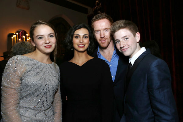'Homeland' stars Morgan Saylor, Morena Baccarin, Golden Globe nominee Damian Lewis and Jackson Pace attend a Showtime dinner celebrating the cable channel's 2013 Golden Globe Nominees on Jan. 12, 2013 at Chateau Marmont in West Hollywood, California.