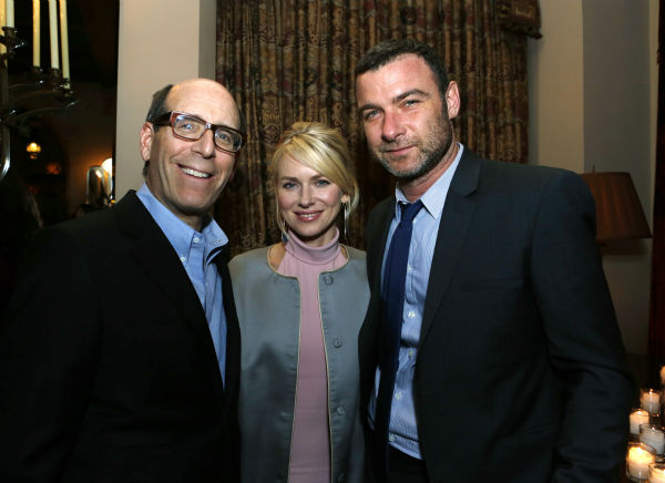 Golden Globe nominee Naomi Watts (center), husband Liev Schreiber and Matthew C. Blank (Showtime Chairman and Chief Executive Officer, left), attend a Showtime dinner celebrating the cable channel's 2013 Golden Globe Nominees on Jan. 12, 2013 at Chateau M