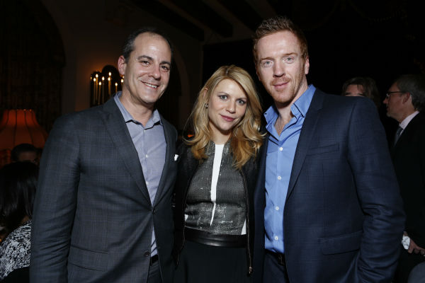 Golden Globe nominees and 'Homeland' stars Claire Danes and Damian Lewis and David Nevins (Showtime President Of Entertainment), attend a Showtime dinner celebrating the cable channel's 2013 Golden Globe Nominees on Jan. 12, 2013 at Chateau Marmont in Wes