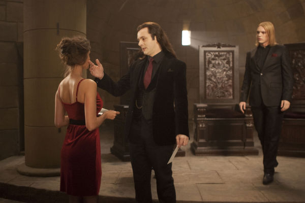 "<div class=""meta ""><span class=""caption-text "">Michael Sheen (center) and Jamie Campbell Bower (right) appear in a scene from 'The Twilight Saga: Breaking Dawn - Part 1.' (Summit Entertainment / Andrew Cooper)</span></div>"