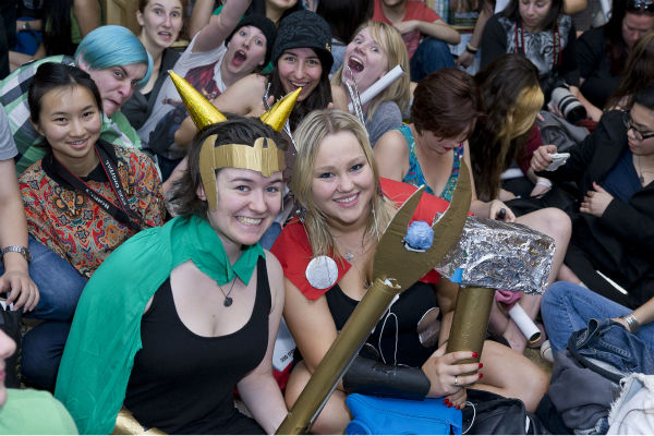 "<div class=""meta ""><span class=""caption-text "">Fans watch Tom Hiddleston at a 'Thor: The Dark World' fan event in Sydney, Australia on Oct. 9, 2013. He reprises his role as Loki in the Marvel film. (Esteban La Tessa - La Tessa Photography)</span></div>"