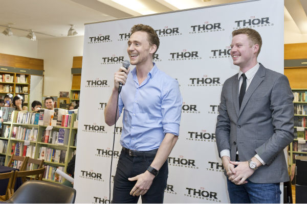 Tom Hiddleston speaks at a &#39;Thor: The Dark World&#39; fan event in Sydney, Australia on Oct. 9, 2013. He reprises his role as Loki in the Marvel film. <span class=meta>(Esteban La Tessa - La Tessa Photography)</span>