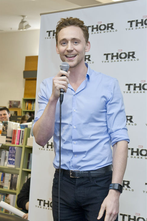 Tom Hiddleston speaks at a 'Thor: The Dark World' fan event in Sydney, Australia on Oct. 9, 2013. He reprises his role as Loki in