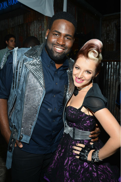 "<div class=""meta ""><span class=""caption-text "">'The Voice' contestants Trevin Hunte ('Team Cee Lo') and Michaela Paige ('Team Blake') appear at the House of Blues in Los Angeles on Nov. 8, 2012 for the NBC show's special concert to celebrate the announcement of the top 12. (Frazer Harrison / NBC)</span></div>"