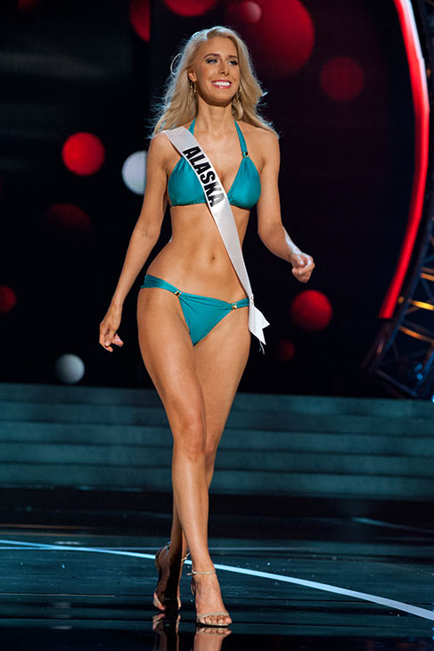 "<div class=""meta ""><span class=""caption-text "">Miss Alaska USA 2013, Melissa McKinney, 26, competes in her ViX Paula Hermanny swimsuit and Chinese Laundry shoes during the 2013 MISS USA Competition Preliminary Show at PH Live in Las Vegas, Nevada on Wednesday, June 12, 2013.  (Patrick Prather / Miss Universe Organization L.P.)</span></div>"
