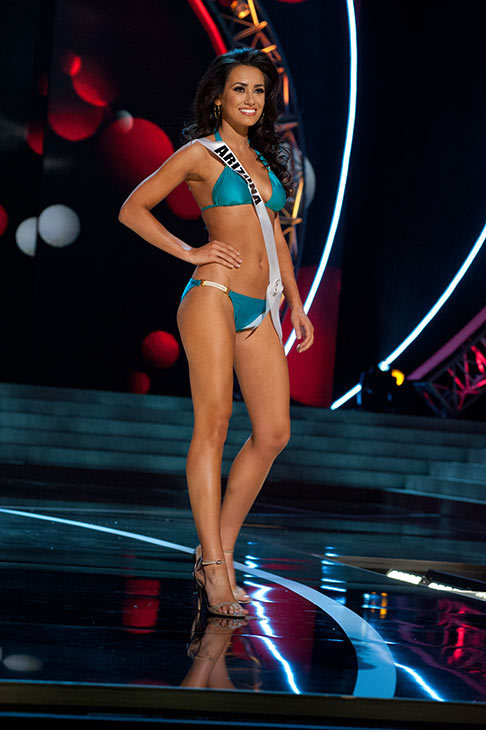 "<div class=""meta image-caption""><div class=""origin-logo origin-image ""><span></span></div><span class=""caption-text"">Miss Arizona USA 2013, Rachel Massie, 20, competes in her ViX Paula Hermanny swimsuit and Chinese Laundry shoes during the 2013 MISS USA Competition Preliminary Show at PH Live in Las Vegas, Nevada on Wednesday, June 12, 2013.  (Patrick Prather / Miss Universe Organization L.P.)</span></div>"