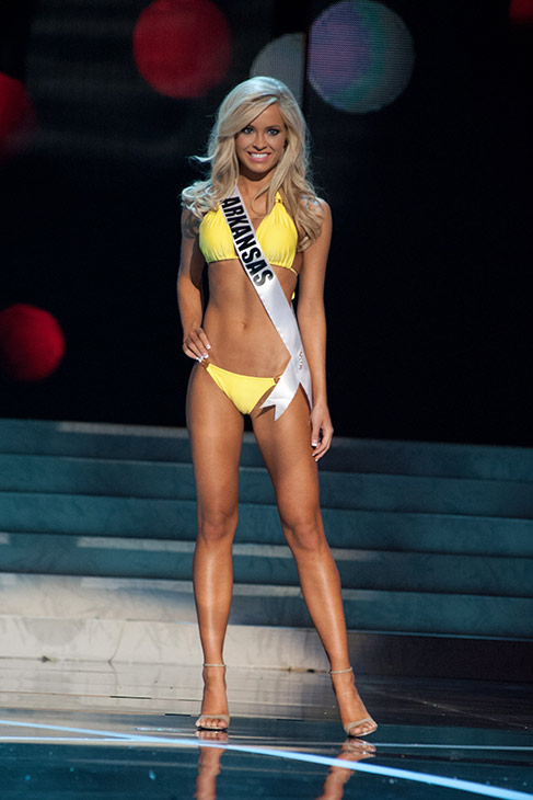 "<div class=""meta ""><span class=""caption-text "">Miss Arkansas USA 2013, Hannah Billingsley, 22, competes in her ViX Paula Hermanny swimsuit and Chinese Laundry shoes during the 2013 MISS USA Competition Preliminary Show at PH Live in Las Vegas, Nevada on Wednesday, June 12, 2013.  (Patrick Prather / Miss Universe Organization L.P.)</span></div>"