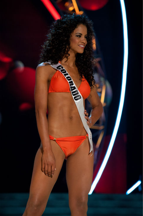 Miss Colorado USA 2013, Amanda Wiley, 26, competes in her ViX Paula Hermanny swimsuit and Chinese Laundry shoes during the 2013 MISS USA Competition Preliminary Show at PH Live in Las Vegas, Nevada on Wednesday, June 12, 2013.   <span class=meta>(Patrick Prather &#47; Miss Universe Organization L.P.)</span>