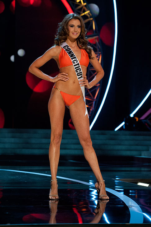 "<div class=""meta ""><span class=""caption-text "">Miss Connecticut USA 2013, Erin Brady, 25, competes in her ViX Paula Hermanny swimsuit and Chinese Laundry shoes during the 2013 MISS USA Competition Preliminary Show at PH Live in Las Vegas, Nevada on Wednesday, June 12, 2013.   (Patrick Prather / Miss Universe Organization L.P.)</span></div>"
