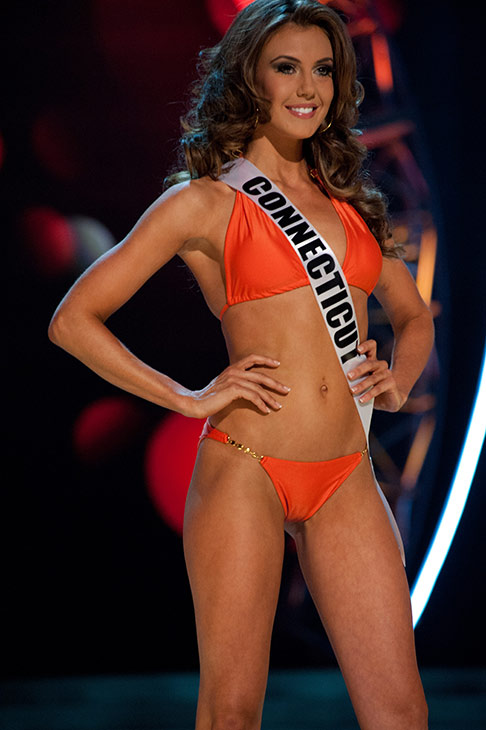 "<div class=""meta image-caption""><div class=""origin-logo origin-image ""><span></span></div><span class=""caption-text"">Miss Connecticut USA 2013, Erin Brady, 25, competes in her ViX Paula Hermanny swimsuit and Chinese Laundry shoes during the 2013 MISS USA Competition Preliminary Show at PH Live in Las Vegas, Nevada on Wednesday, June 12, 2013.   (Patrick Prather / Miss Universe Organization L.P.)</span></div>"