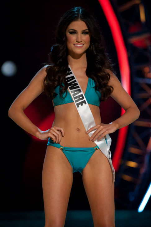 Miss Delaware USA 2013, Rachel Baiocco, 22, competes in her ViX Paula Hermanny swimsuit and Chinese Laundry shoes during the 2013 MISS USA Competition Preliminary Show at PH Live in Las Vegas, Nevada on Wednesday, June 12, 2013.    <span class=meta>(Patrick Prather &#47; Miss Universe Organization L.P.)</span>