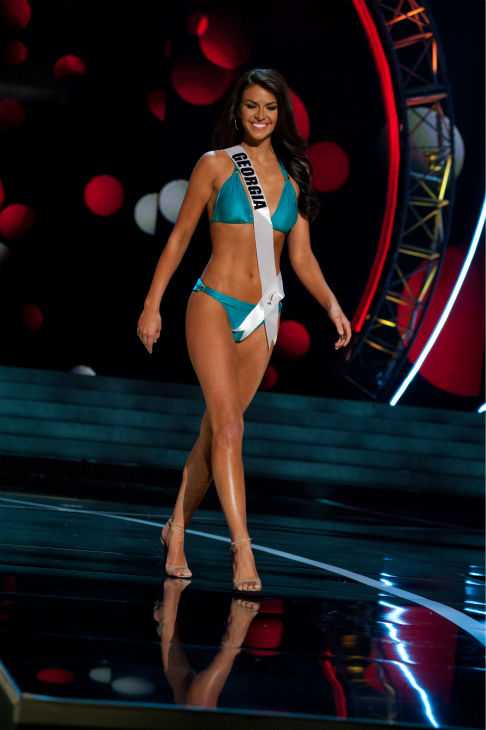 Miss Georgia USA 2013, Brittany Sharp, 22, competes in her ViX Paula Hermanny swimsuit and Chinese Laundry shoes during the 2013 MISS USA Competition Preliminary Show at PH Live in Las Vegas, Nevada on Wednesday, June 12, 2013.    <span class=meta>(Patrick Prather &#47; Miss Universe Organization L.P.)</span>
