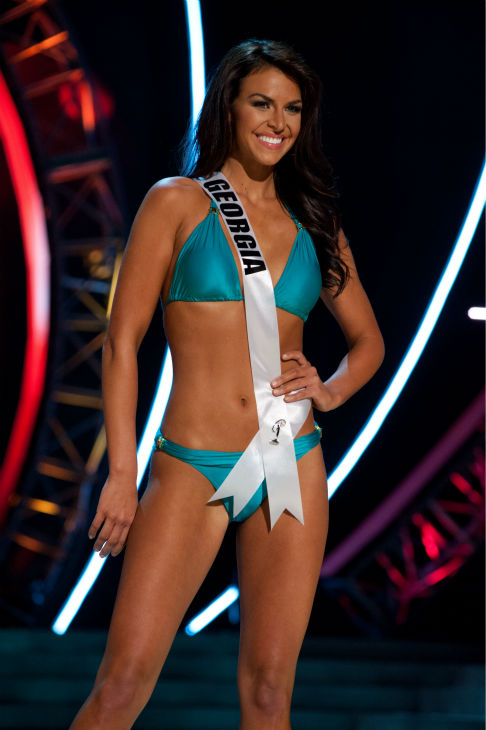 "<div class=""meta ""><span class=""caption-text "">Miss Georgia USA 2013, Brittany Sharp, 22, competes in her ViX Paula Hermanny swimsuit and Chinese Laundry shoes during the 2013 MISS USA Competition Preliminary Show at PH Live in Las Vegas, Nevada on Wednesday, June 12, 2013.    (Patrick Prather / Miss Universe Organization L.P.)</span></div>"